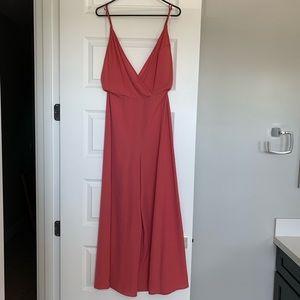 Lush Red/Orange Spaghetti Strap Jumpsuit Small